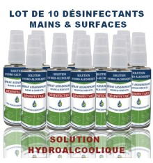 PACK OF 10 SOLUTIONS HYDROALCOOLIQUES SPRAY 50ML